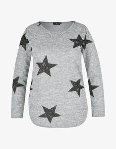 Via Cortesa - Feinstrick-Shirt in Melange-Optik mit Sternen-Print