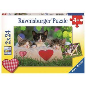 Puzzle-Box - Verschlafene Kätzchen - 2x 24 Teile