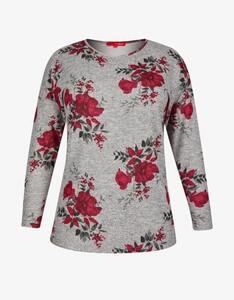 Thea - Feinstrick-Shirt in Melange-Optik mit floralem Muster