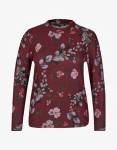 MY OWN - Flauschiges Shirt mit Blumendruck und Stehkragen