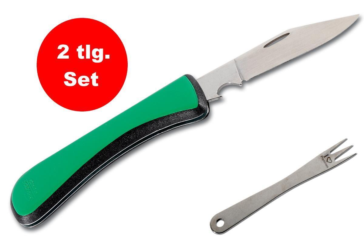 Bild 1 von Edelstahl Pommesgabel + Brotzeitmesser, Taschenmesser klappbar mit Flaschenöffner - Made in Solingen