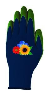 """Powertec Garden Damen Gartenhandschuhe """"Kira"""" blau/grün Blumen; Größe L"""