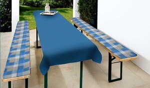 Solax-Sunshine Biertisch-Garnitur - Karo Blau/Grau, 3tlg.