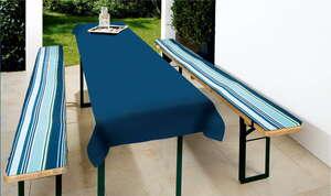 Solax-Sunshine Biertisch-Garnitur - Streifen Blau/Aqua, 3tlg.