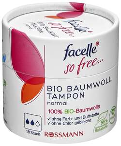 facelle so free Bio Baumwoll Tampon normal