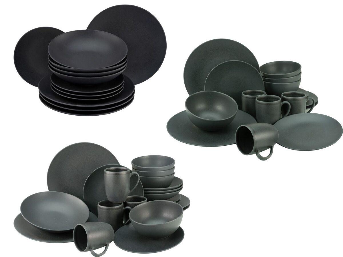 Bild 1 von Creatable Steinzeug Geschirr matt schwarz Kombiservice