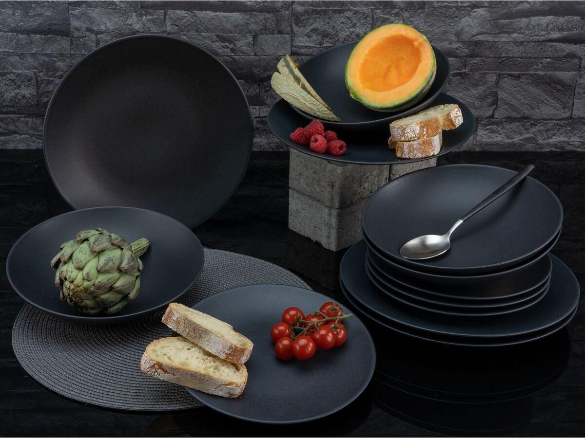 Bild 3 von Creatable Steinzeug Geschirr matt schwarz Kombiservice
