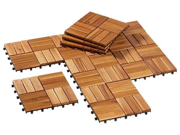 FLORABEST Holzfliesen, 10 Stück, aus Akazienholz