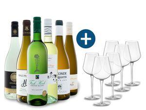 6 x 0,75-l-Flasche Weinpaket Entdecker Weiß mit 6er Weißwein-Gläserset vanWell