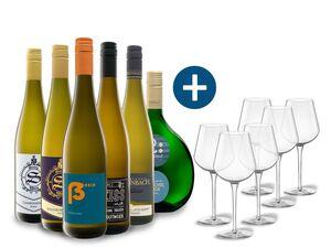 6 x 0,75-l-Flasche Weinpaket Weißwein aus Deutschland 6er Weißwein-Gläserset vanWell
