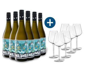 6 x 0,75-l-Flasche Weinpaket Weingut Wildner Sauvignon Blanc QbA trocken, Weißwein mit 6er Weißwein-Gläserset vanWell