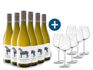 6 x 0,75-l-Flasche Weinpaket Percheron Südafrika Chenin Blanc Viognier trocken, Weißwein mit 6er Weißwein-Gläserset vanWell