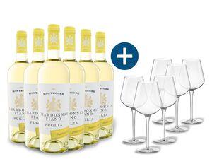 6 x 0,75-l-Flasche Weinpaket Montecore Chardonnay/Fiano Puglia IGP halbtrocken, Weißwein mit 6er Weißwein-Gläserset vanWell