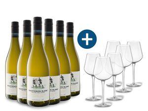 6 x 0,75-l-Flasche Weinpaket Sauvignon Blanc Awatere Valley Single Vineyard trocken, Weißwein mit 6er Weißwein-Gläserset vanWell