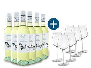 6 x 0,75-l-Flasche Weinpaket Magnolia Pinot Grigio Colline Pescaresi IGP trocken, Weißwein mit 6er Weißwein-Gläserset vanWell