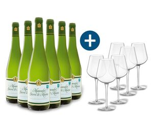 6 x 0,75-l-Flasche Weinpaket Muscadet Sévre et Maine AOP trocken, Weißwein mit 6er Weißwein-Gläserset vanWell