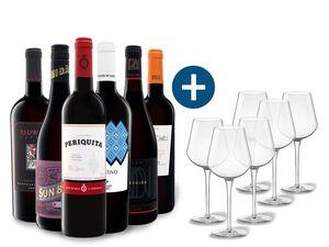 6 x 0,75-l-Flasche Weinpaket Entdecker Rot mit 6er Rotwein-Gläserset vanWell