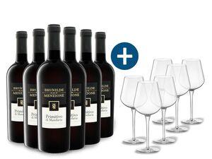 6 x 0,75-l-Flasche Weinpaket Brunilde di Menzione Primitivo di Manduria DOC halbtrocken, Rotwein mit 6er Rotwein-Gläserset vanWell