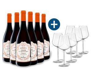 6 x 0,75-l-Flasche Weinpaket Pasqua Villa Borghetti FHIOR Veneto Passimento IGT halbtrocken, Rotwein mit 6er Rotwein-Gläserset vanWell