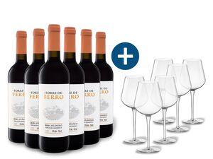 6 x 0,75-l-Flasche Weinpaket Torre de Ferro Beira Atlântico, Rotwein mit 6er Rotwein-Gläserset vanWell
