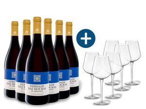 6 x 0,75-l-Flasche Weinpaket Herdade das Mouras Alentejano Vinho Regional, Rotwein mit 6er Rotwein-Gläserset vanWell