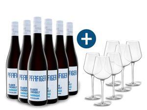 6 x 0,75-l-Flasche Weinpaket Pfiffiger Blauer Zweigelt Barrique trocken, Rotwein mit 6er Rotwein-Gläserset vanWell