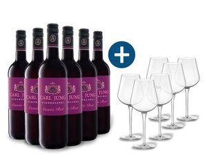 6 x 0,75-l-Flasche Weinpaket Carl Jung Selection Rot, alkoholfreier Rotwein mit 6er Rotwein-Gläserset vanWell