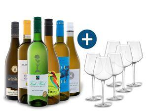 6 x 0,75-l-Flasche Weinpaket Weiße Vielfalt mit 6er Weißwein-Gläserset vanWell