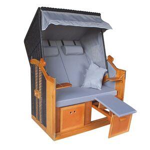 Hoberg Strandkorb 2 Sitzer 120x80x160cm grau/braun ohne Rollen