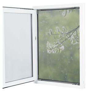 EASYmaxx Moskitonetz mit Pollenschutz 150x130cm grau 12 Magnetbefestigung für Fenster