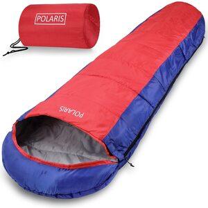 Deuba Schlafsack Mumienschlafsack Polaris 210x75cm bis -7°C 700g Blau Rot