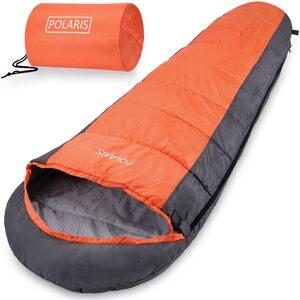 Deuba Schlafsack Mumienschlafsack Polaris 210x75cm bis -7°C 700g Orange Grau
