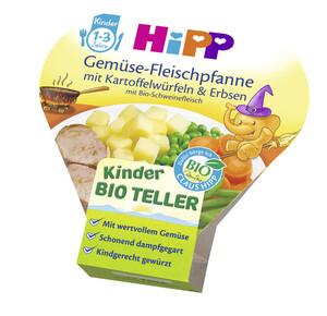 Hipp Bio Kinder Teller Gemüse-Fleischpfanne mit Kartoffelwürfeln und Erbsen mit Bio-Schweinefleisch 1-3 Jahre 250 g