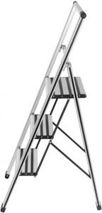Wenko Alu-Design Klapptrittleiter 3-Stufig, max. 150 kg, 44 x 127 x 5,5 cm (B/H/T), 6200 g