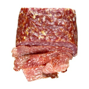 Italienische Salami Spianata Romana oder Calabra luftgetrocknet, aus Schweinefleisch, je 100 g