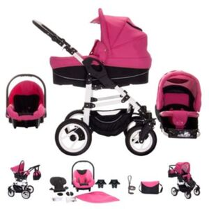 Paris   3 in 1 Kinderwagen Komplettset   Luftreifen Kombikinderwagen schwarz/pink