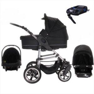 London   ISOFIX Basis & Autositz   Luftreifen   4 in 1 Kinderwagen Set Kombikinderwagen schwarz