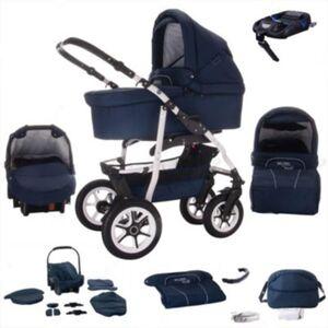 Bellami   ISOFIX Basis & Autositz   4 in 1 Kombi Kinderwagen   Hartgummireifen Kombikinderwagen blau