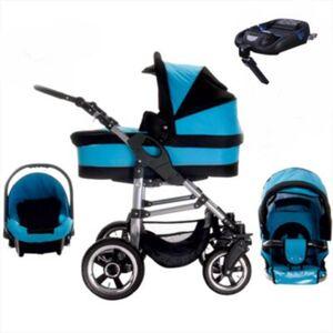 London   ISOFIX Basis & Autositz   Hartgummireifen   4 in 1 Kinderwagen Set Kombikinderwagen schwarz/blau
