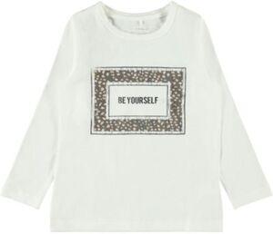 Langarmshirt NMFROSANNE , Organic Cotton weiß Gr. 98 Mädchen Kleinkinder