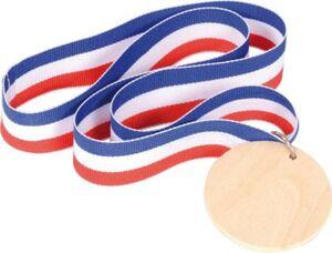 Medaille Holz, 3 Stück bunt