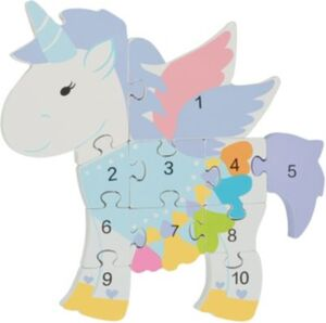 Holzspielzeug Zahlenpuzzle Einhorn (46015)