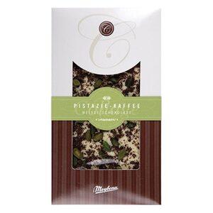 Weiße Schokolade bestreut mit Pistazie-Kaffee, 100g
