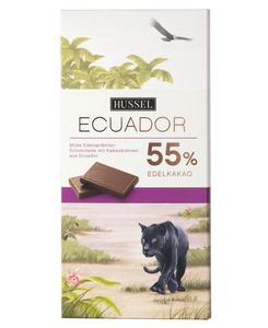 Edelvollmilchschokolade Ecuador 55% Kakao von Hussel, 100g Tafel