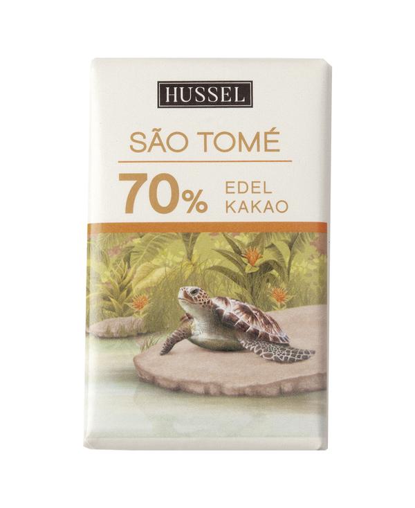 Edelbitterschokolade Sao Tomé 70% Kakao von Hussel, 7,5 g Täfelchen