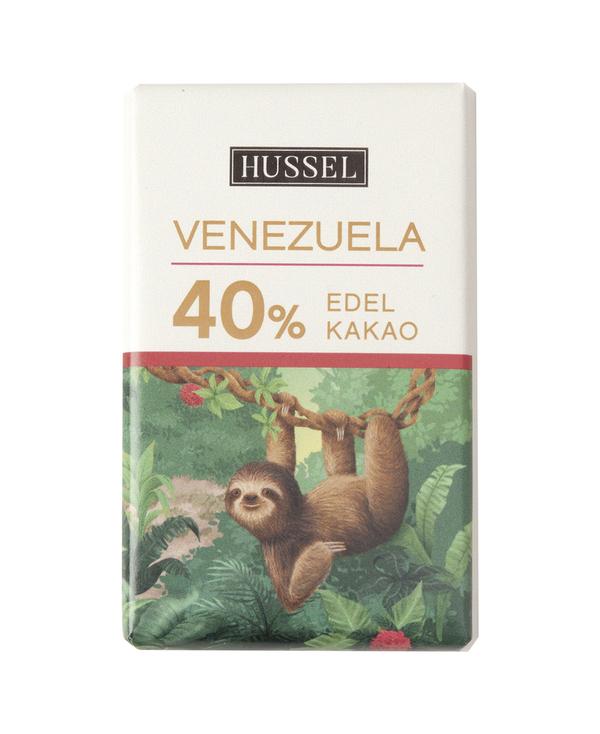 Edelvollmilchschokolade Venezuela 40% Kakao von Hussel, 7,5g Täfelchen