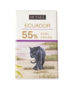 Edelzartbitterschokolade Ecuador 55% Kakao von Hussel, 7,5g Täfelchen