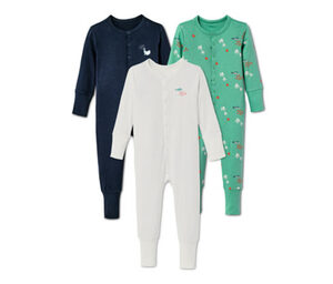 3 Baby Baumwoll-Pyjamas