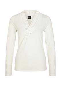 Damen V-Neck-Shirt mit glänzender Schließe