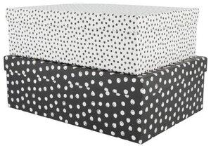 HEMA 2er-Pack Pappschachteln, Punkte, Schwarz/weiß